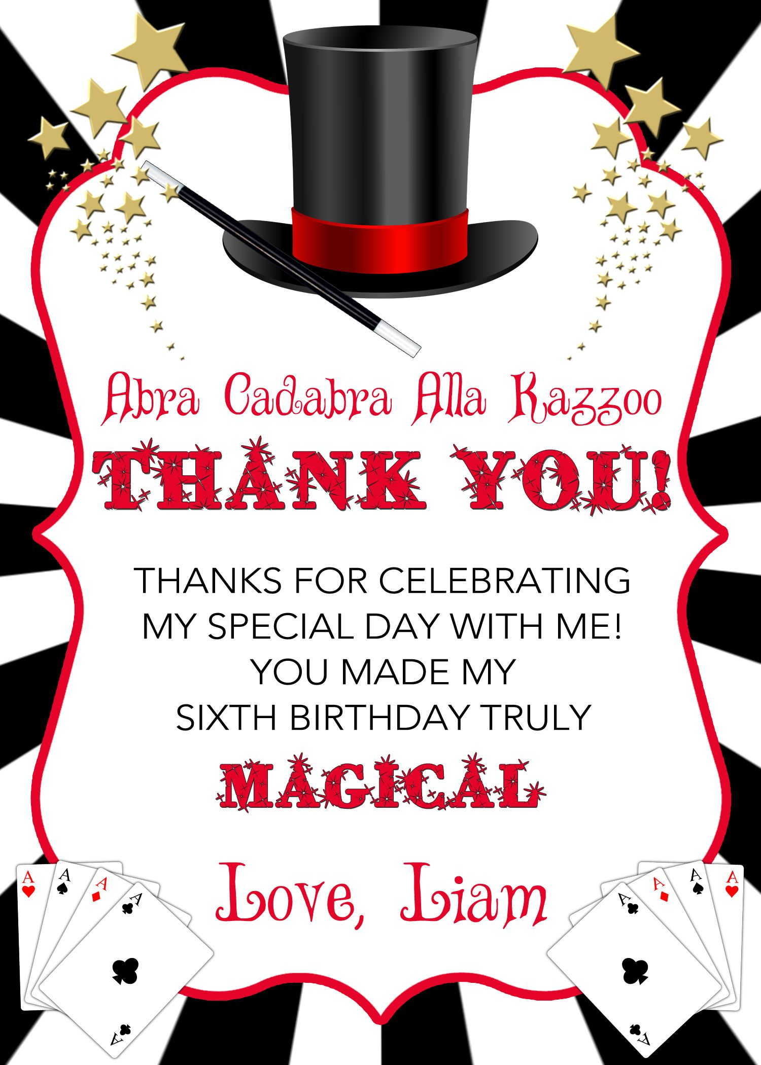 Magic Party Thank you Card, Magic Birthday Thank you Card, Magician ...