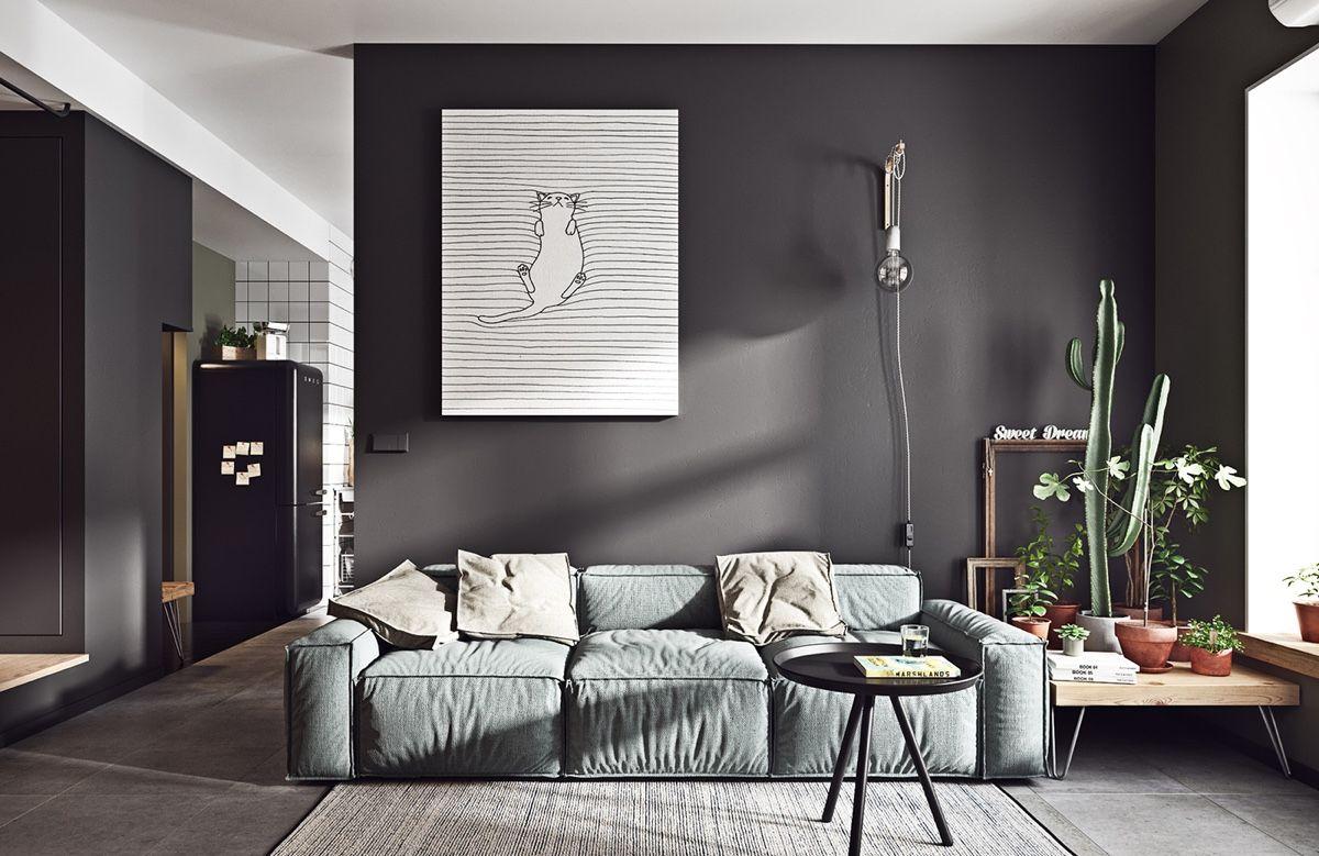 Black White Scandinavian Interiors That Explore The Dark Side Living Room Grey Interior Design Living Room Monochrome Living Room