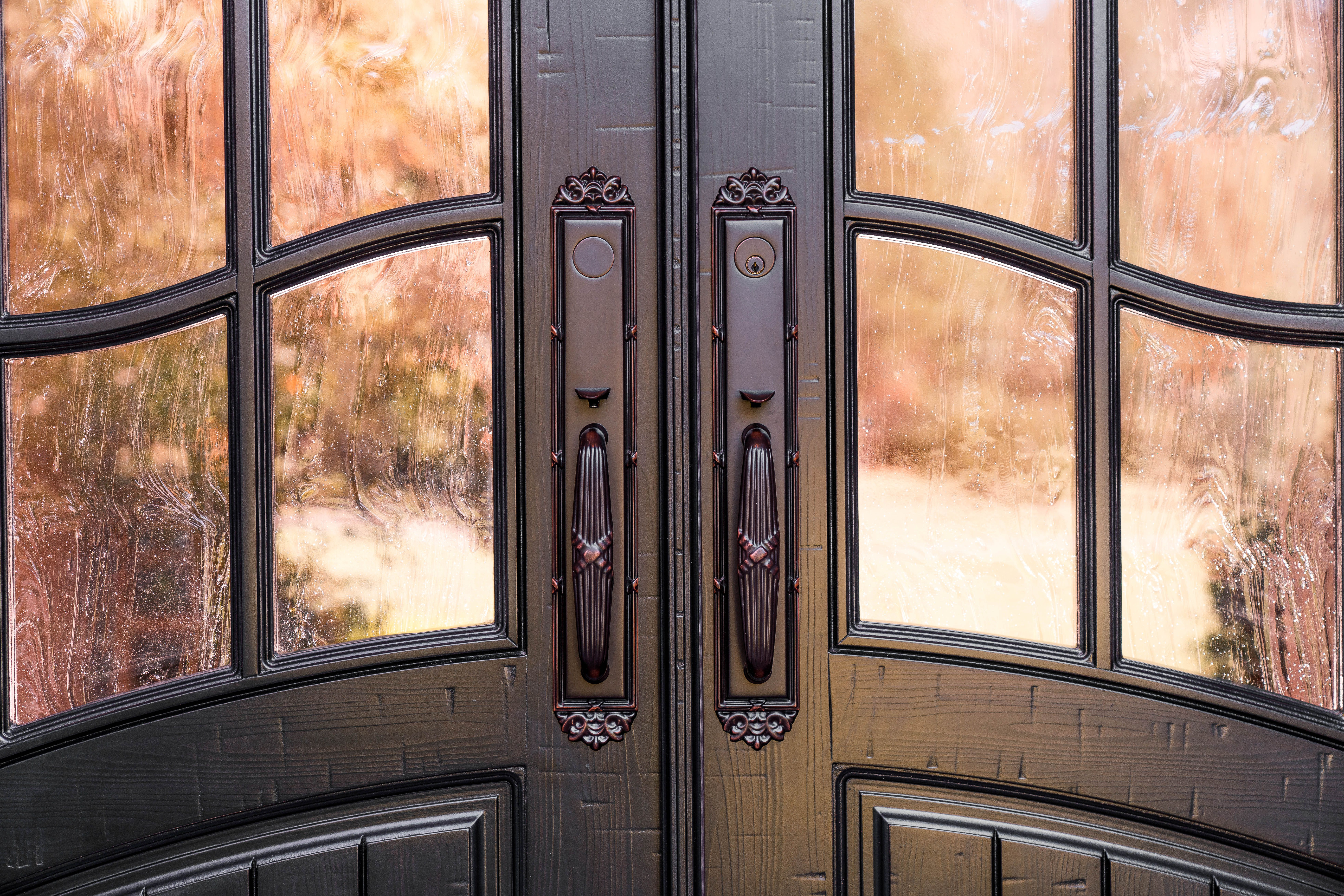 New Installation From Our Classic French Collection This Customer Chose Our Rustic Walnut Finish With Winterlake Tempered Entry Doors Front Door Masterpiece