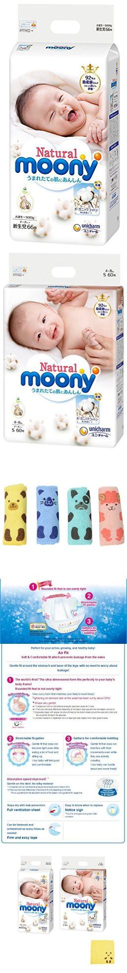 Japanese Soft Diapers Unicharm Natural Mooney ( Organic cotton ) 2 sizes Bundle Set , Newborn (2-5kg) 66 , S size (4-8kg) 60 ( Total 126sheets ) Tape Type Disposable Nappies , Original Hand Towel