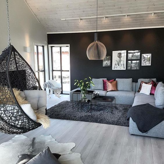 Hanging Chair In Living Room Living Room Design Inspiration Modern Home Interior Design Modern Houses Interior