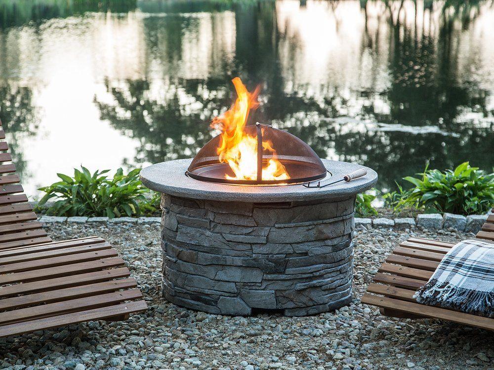 Kamienne Palenisko Ogrodowe Przygotuj Się Na Wiosnę I Stwórz Niepowtarzalny Klimat W Swoim Ogrodzie Beliani Palenisk Fire Pit Outdoor Wood Burning Fire Pit