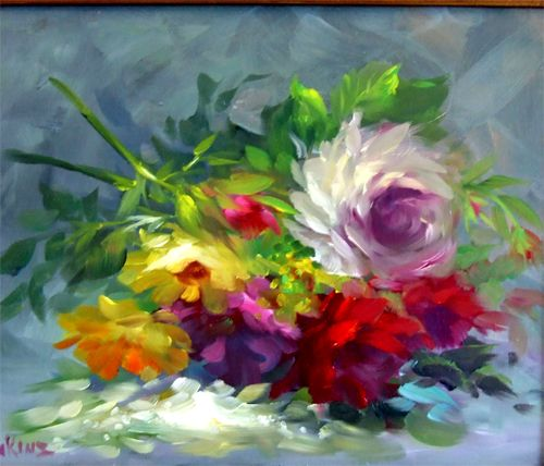"""""""JUST PICKED """" by Gary Jenkins Lovely casual and loose style Roses in beautiful warm , jewel tone colors set against a a cool neutral Gray background. Painting size 11x14."""