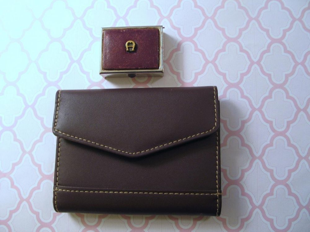 Buxton Brown Business Card Holder Case + Vintage Aigner Pill Box ...