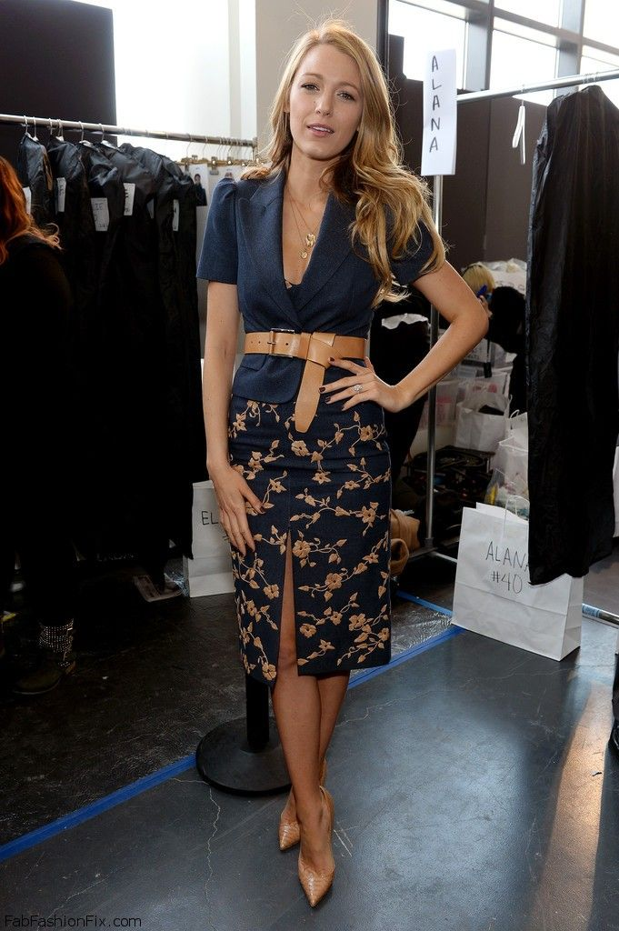 f13a92049117c Blake Lively looked alluring and elegant in Michael Kors fitted jacket and  matching pencil skirt with floral prints