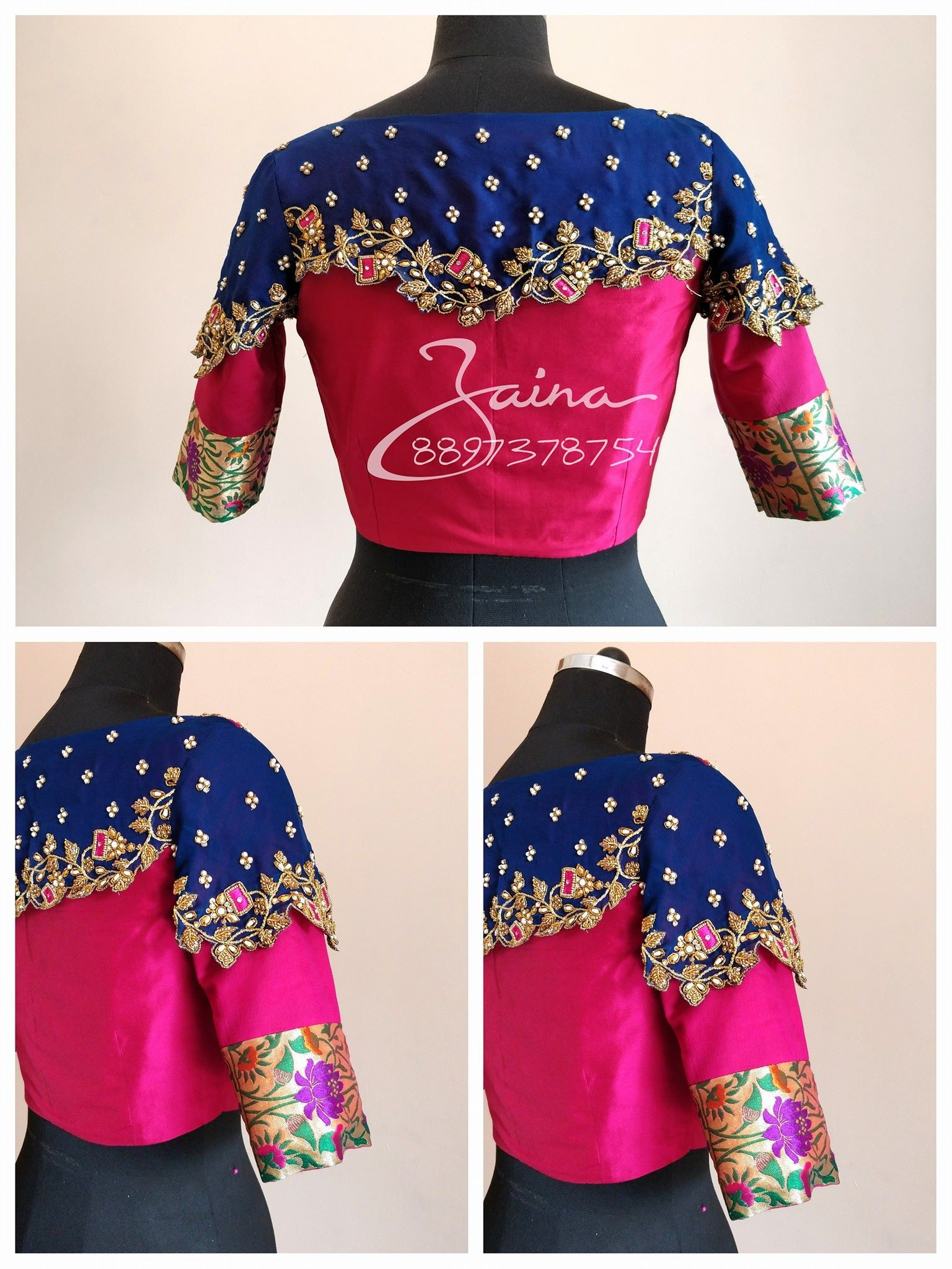 Wedding saree blouse design red beautiful pink and royal blue color trendy bridal designer blouse