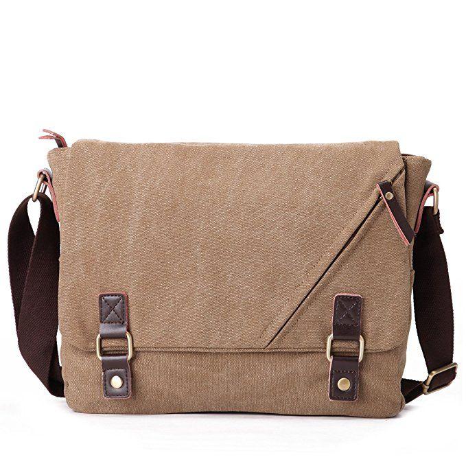 Eshow Men's Retro Canvas Cross Body Messenger Bag, Khaki