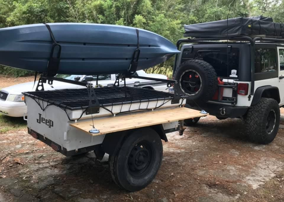 Stephen S No Weld Rack Tower Outfitted M416 Kayak Trailer With 80 20 Aluminum Extrusion Crossbars Like His Diy Removable S In 2020 Trailer Kayak Trailer Roof Top Tent