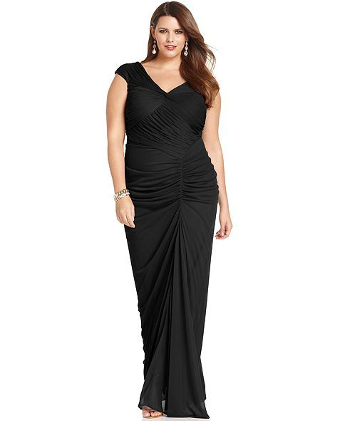 Adrianna Papell Plus Size Dress, Cap-Sleeve Ruched Gown - Plus ...