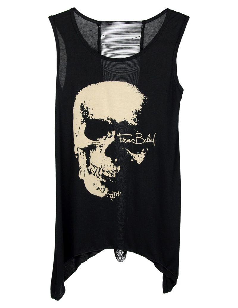 New womenus t shirt vintage tassel open back skull price