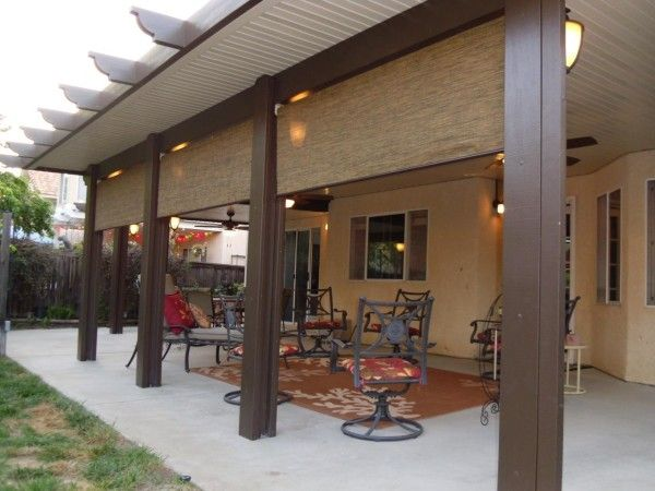 Ealing Aluminum Wood Patio Covers With Roll Up Sun Shades And