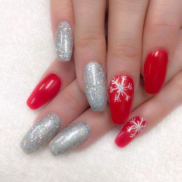 red nail color snowflake nail art silver christmas nail designs #nail # design #ideas - Red Nail Color Snowflake Nail Art Silver Christmas Nail Designs