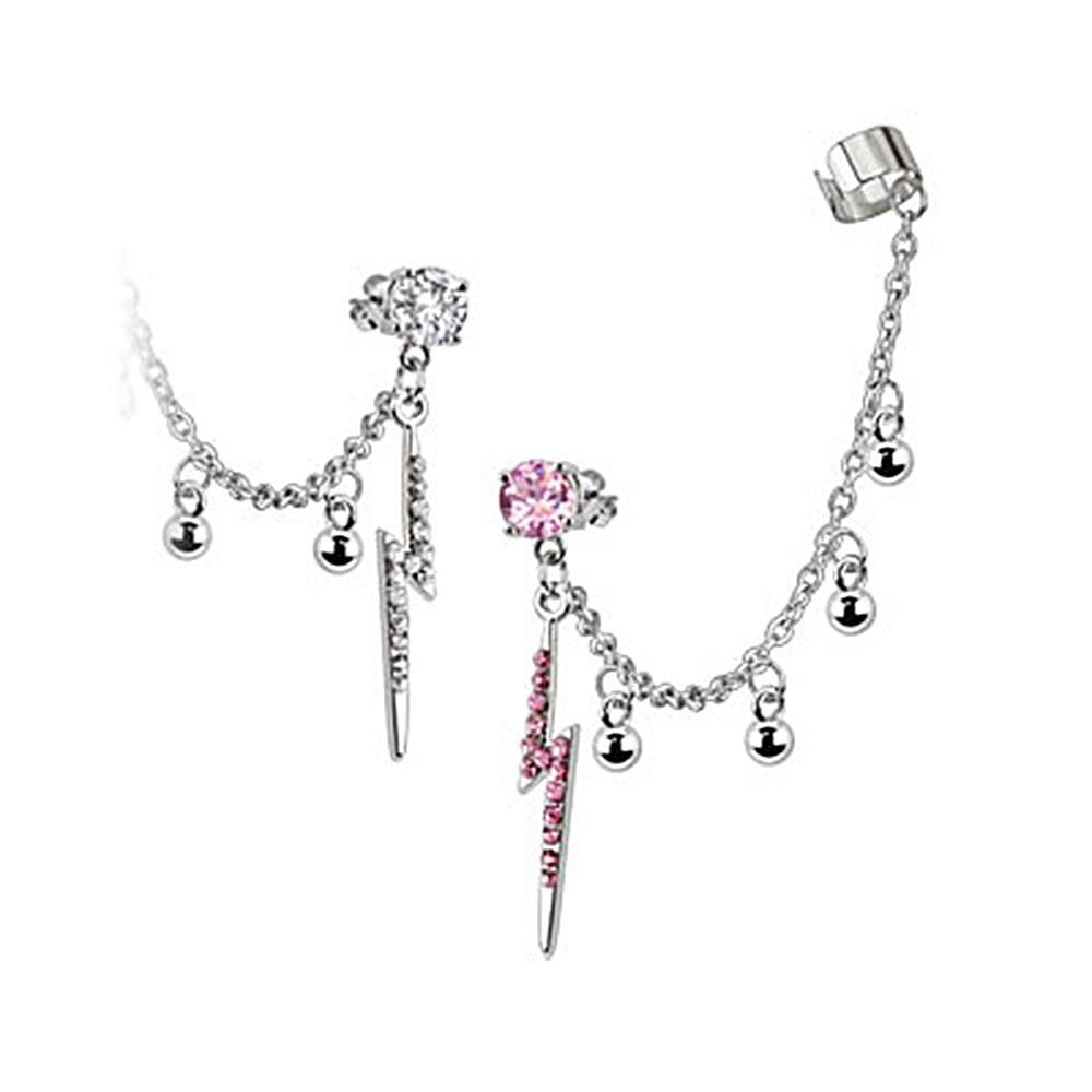 {Clear} Stud Chain with Balls Earring w/ Gemmed Thunder Bolt Dangles with End Clip Surgical, Women's