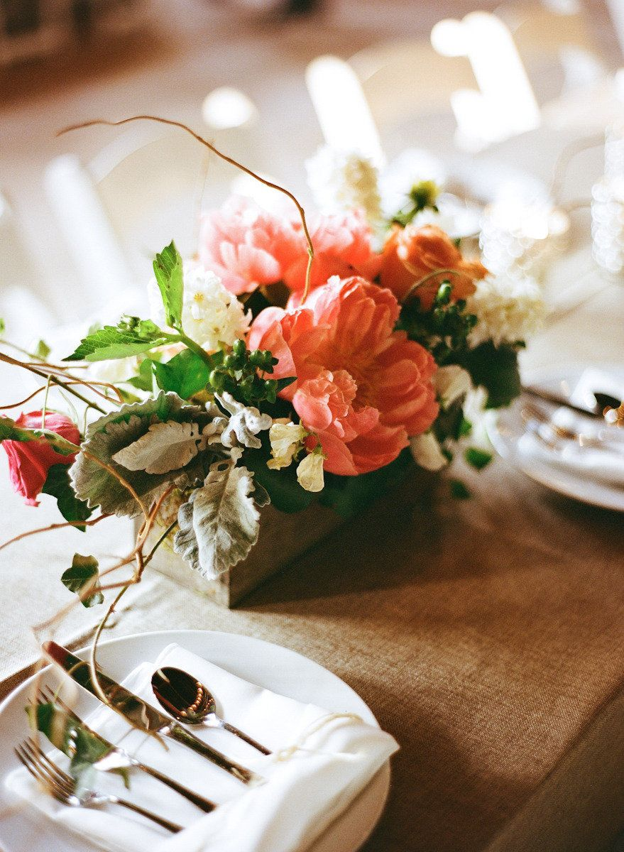 #Peonies #Coral #Centerpieces Photography by austingros.com, Florals by https://www.facebook.com/pages/Lolas-Gifts-and-Flowers/158599527495310  Read more - http://www.stylemepretty.com/2013/08/21/florence-alabama-wedding-from-austin-gros/
