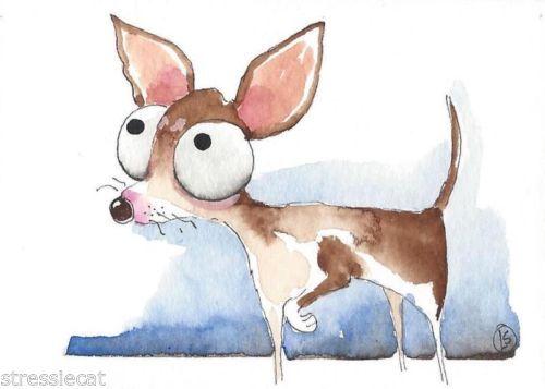 ACEO-Original-watercolor-whimsical-animal-painting-dog-skinny-girl-Chihuahua-1