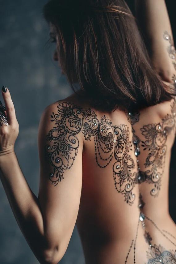 Full body SEXY temporary Tattoo for woman erotic henna | Etsy