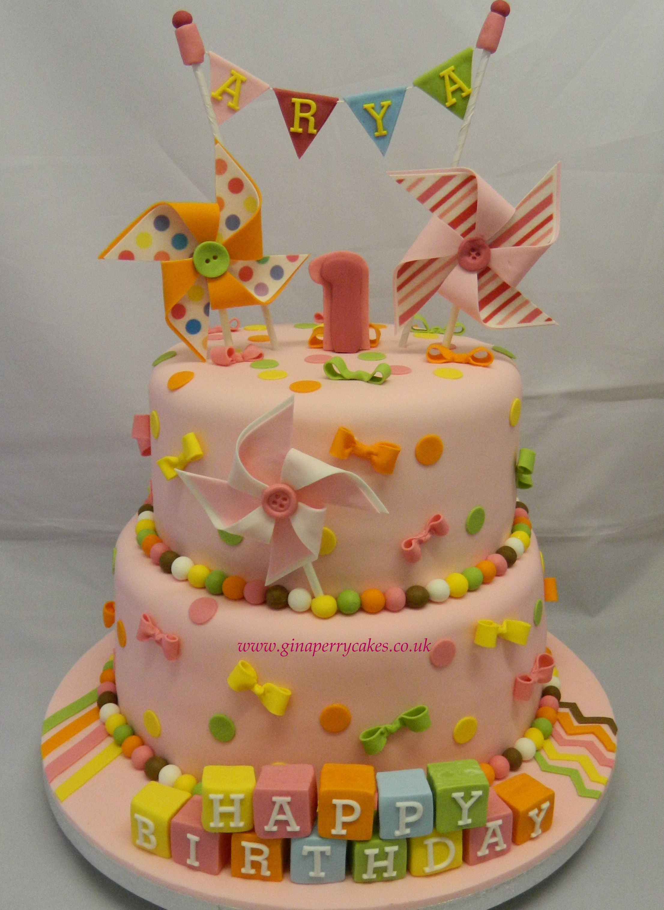 Buttons, bows and bunting birthday cake for a 1 year old