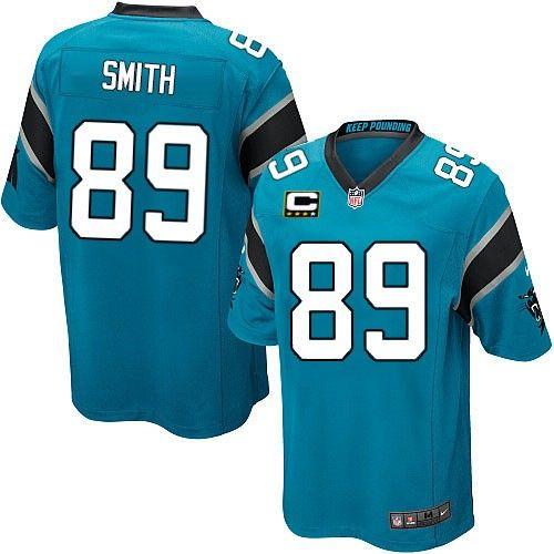 c patch nike nfl carolina panthers 89 steve smith elite alternate blue youth jersey