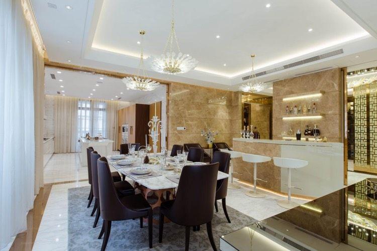 Merveilleux Salle à Manger Design Contemporain Table Plateau Marbre Blanc Tapis