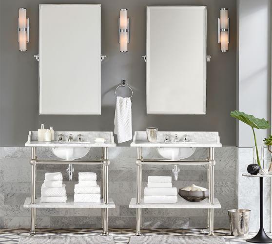 Hewitt Pivot Mirror Large Chrome Master Bath Vanity