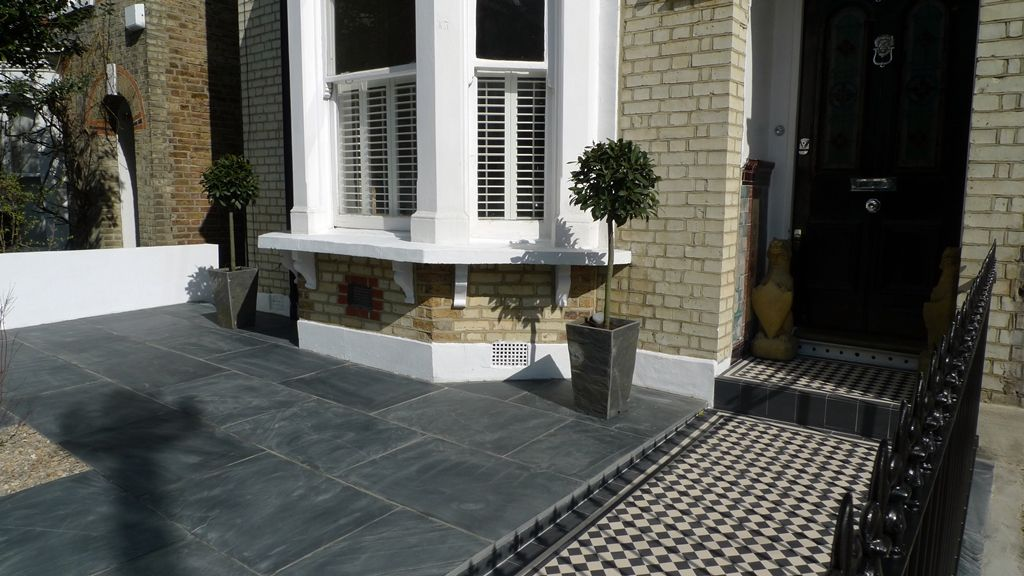 Paving Designs For Front Gardens find this pin and more on front garden Formal Front Garden London Wall Slate Paving Mosaic