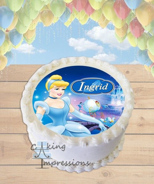 Marvelous Classic Cinderella Edible Image Cake Topper Round With Images Funny Birthday Cards Online Overcheapnameinfo