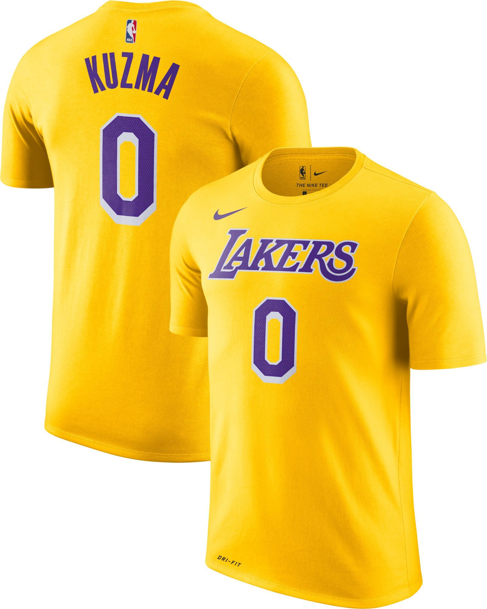 newest b0e5e 1c392 Nike Youth Los Angeles Lakers Kyle Kuzma #0 Dri-FIT Gold T ...