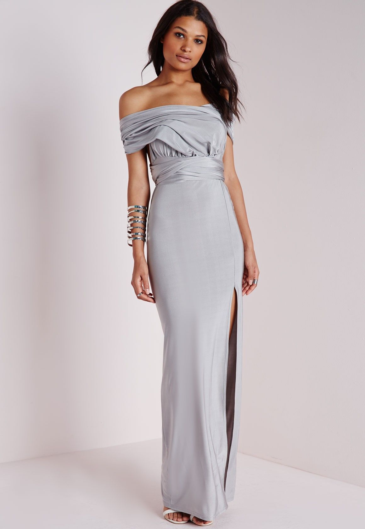 e82bd7d977a Missguided - Do It Any Way Multiway Slinky Maxi Dress Grey
