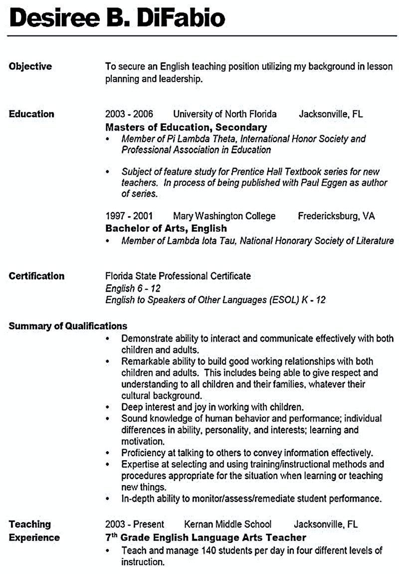 teacher resume emphasizes the way an employee will be looked for by any kind of employers  the