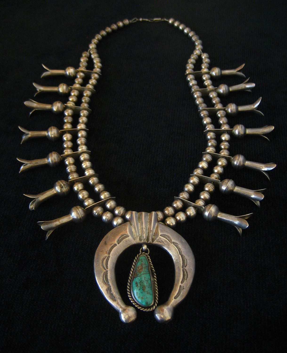 Antique Native American Squash Blossom Necklace Vintage Sterling ...