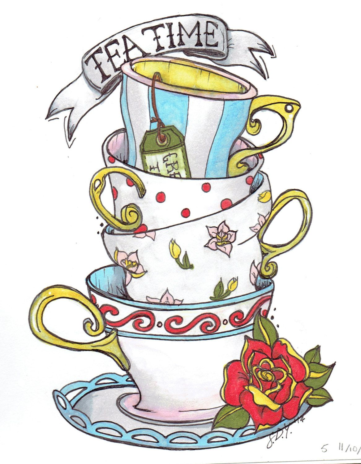 Drawn Alice In Wonderland Teacup 844 Tea Cup Drawing Alice In