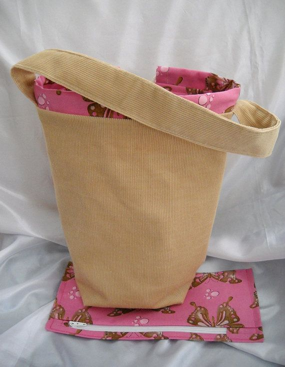 Corduroy Knitting Project Bag or Tote bag, Sock knitters bag, matching zippered notions or accessory pouch by Funtific on Etsy