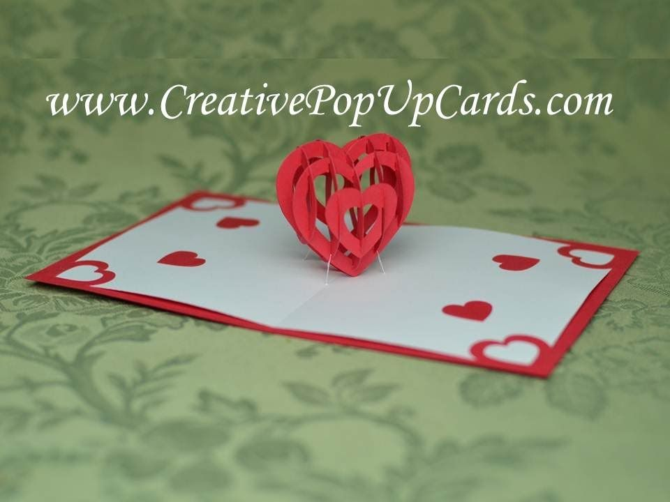 Valentine S Day Pop Up Card Tutorial 3d Heart Heart Pop Up Card Pop Up Card Templates Pop Up Cards