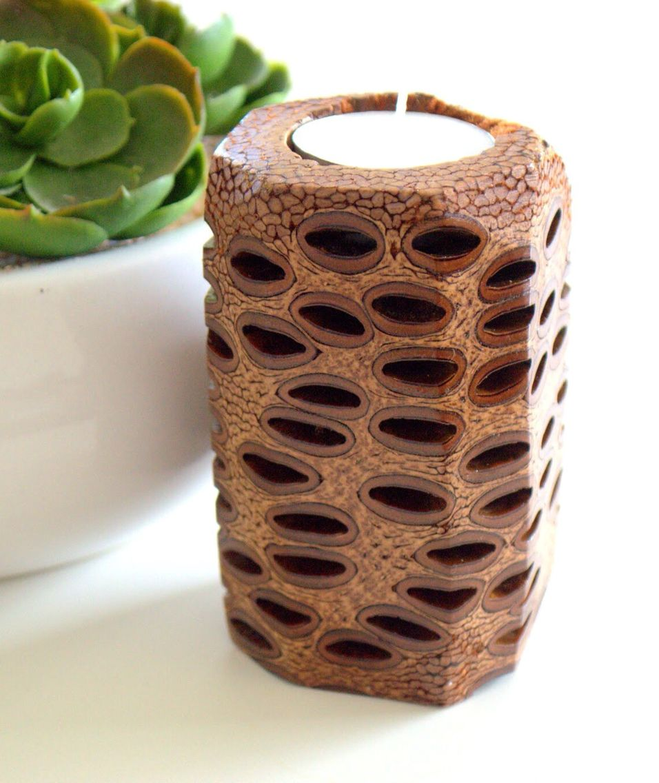 Handmade banksia tealight candle holder! Uniquely Australian and available to purchase via etsy $22