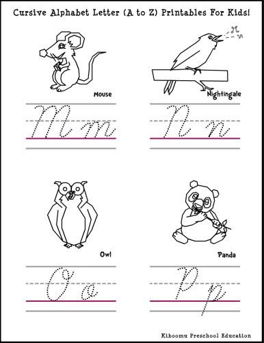 Cursive Writing Letters Worksheet and Song. Mm, Nn, Oo and