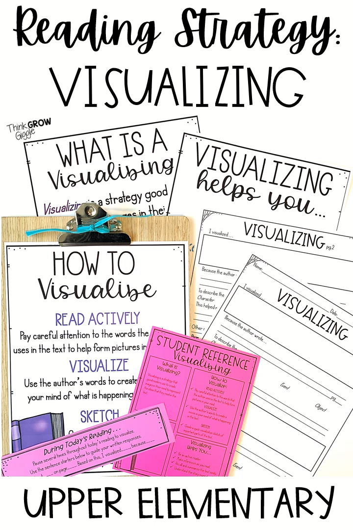 Read at home or at school and use these visualizing activities, anchor charts, independent reading tasks and task cards, rubric and graphic organizers to help your upper elementary and middle school students successfully visualize as they read any book. These are perfect for reading strategy work for your kids. List of mentor texts also included. Have your students read and visualize as they read any book. Even perfect for 2nd graders who are ready to visualize as they read. Click to see more!