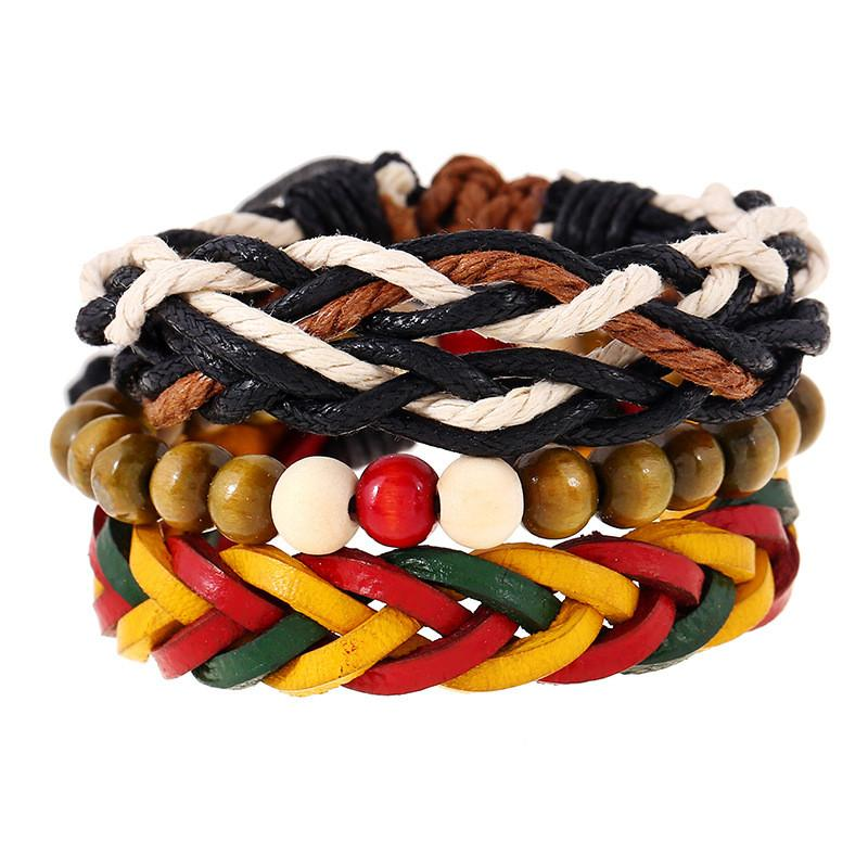 3pcs Set Handmade Woven Beads Jamaican Reggae Leather Bracelet