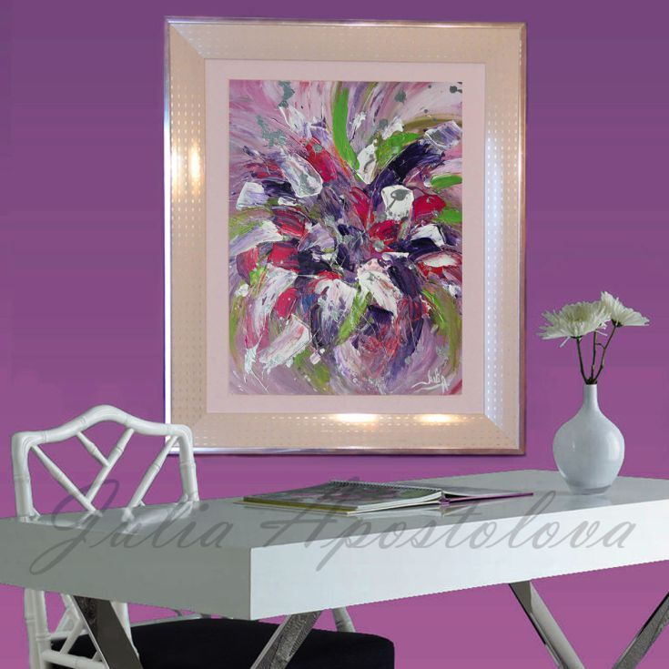 #ARTFINDER: #FramedPainting on #Canvas, #Acrylic, #RomanticArt... by #JuliaApostolova - #Original #AcrylicArt #PaletteKnife #FramedArt with #Metallicscolors, #RichTexture and including #modern #WhiteandPink #SilverFrame #WhiteFrame. Perfect for a #Gift ( #WeddingGift, #ChristmasGift, #Giftforher, #Afordable Art)  ...
