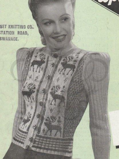 Ladies Elegant Reindeer Jacket Vintage Christmas Knitting Pattern