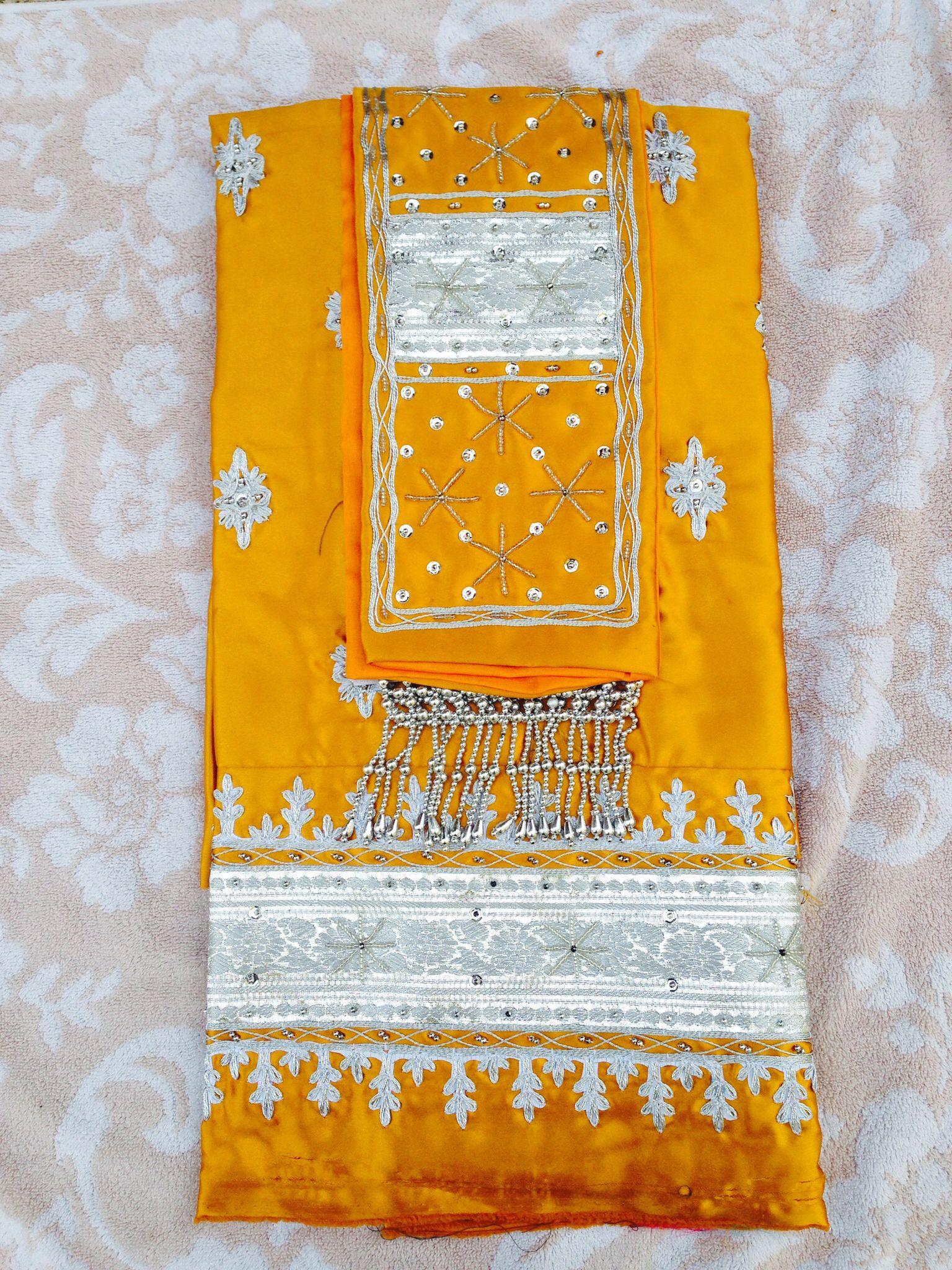 Gold / orange Lao / thai fabric/skirt cloth. Traditional