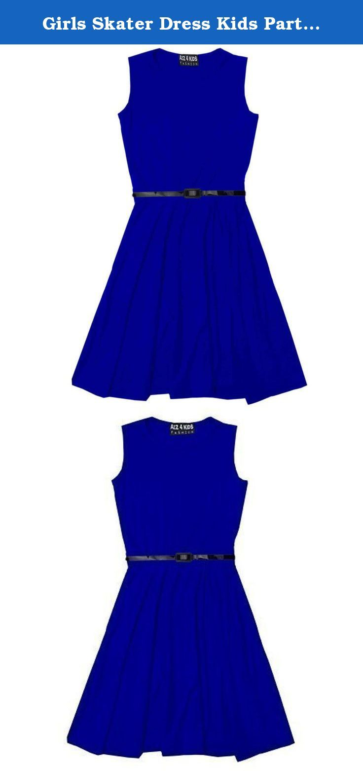 Girls skater dress kids party dresses with free belt age