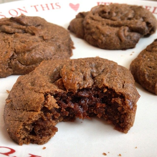 Ooey Gooey Nutella Cookies by @blondehealth @zanzapan In a bowl, combine 3/4C dark chocolate hazelnut butter, 1/3C honey, 1 egg, 1/4t baking powder and 1T coconut flour. Grease a baking sheet and bake for 8-10 mins at 350F. Makes anywhere from 4-10 cookies