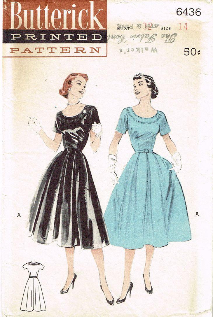 1950s Vintage Butterick Sewing Pattern 6436 Uncut Misses Dress Size ...