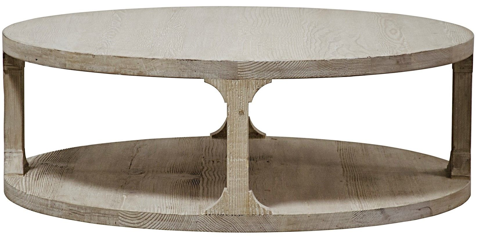 round gray wash coffee table