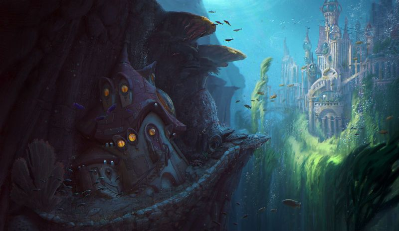 Concept Art Writing Prompt A Cottage Sits Outside The Underwater City Concept Art Underwater City Art