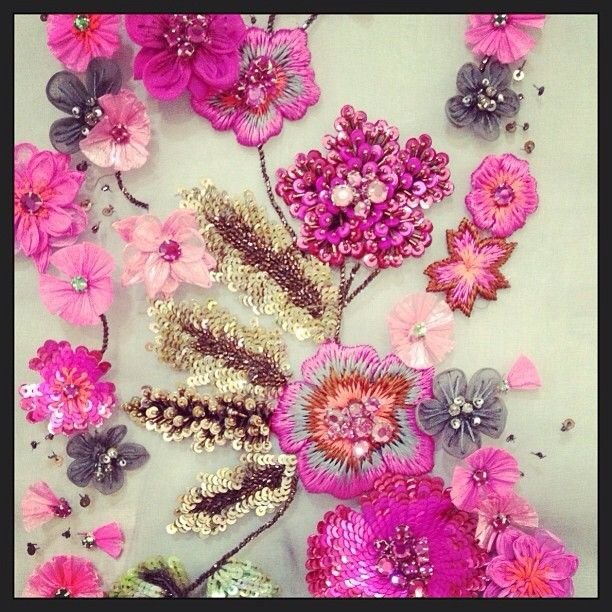 """Matthew Williamson fuchsia floral embellished embroidery with hints of grey, silver, gold and green using sequins and beads. """"Our fuchsia flower meadow finally comes to life after months of preparation. See it walk the runway tomorrow at 7pm #LFW #BehindTheSeams #CatwalkCountdown"""""""