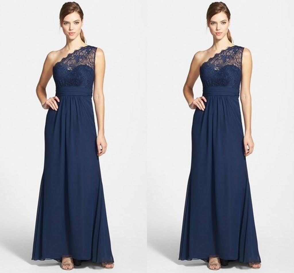 Custom navyroyal blue one shoulder bridesmaid dresses chiffon