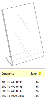 http://www.brochureholdersonly.com/brochureholders/pc/lha-811e-8-5-w-x-11-h-clear-styrene-table-tent-277p516.htm?atc=1=516#.URlV4kq-0Xw  $2.90 a piece