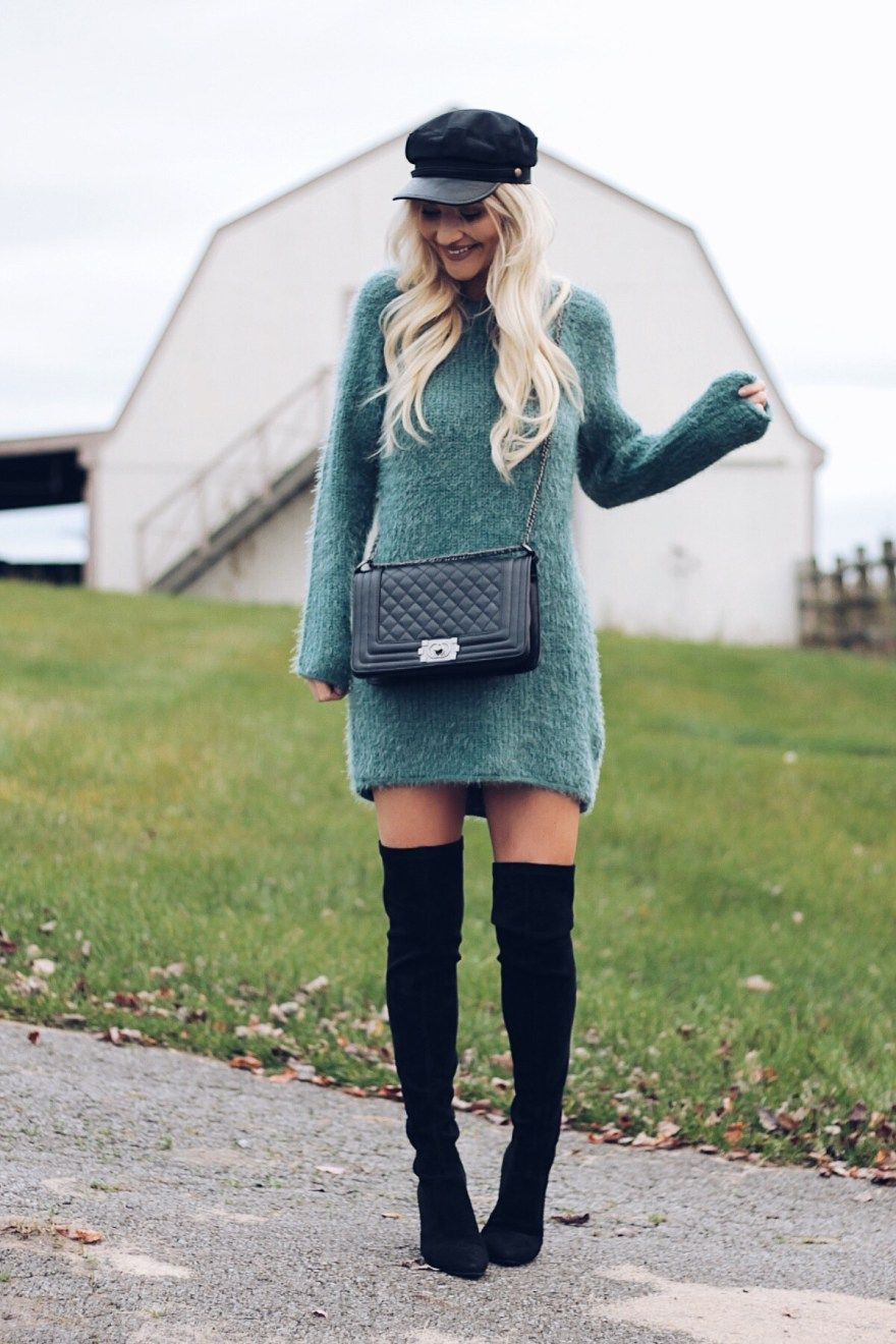 03a805169e9a3 SWEATER DRESSES FOR EVERY BUDGET: sweater dress, baker boy hat, over the  knee