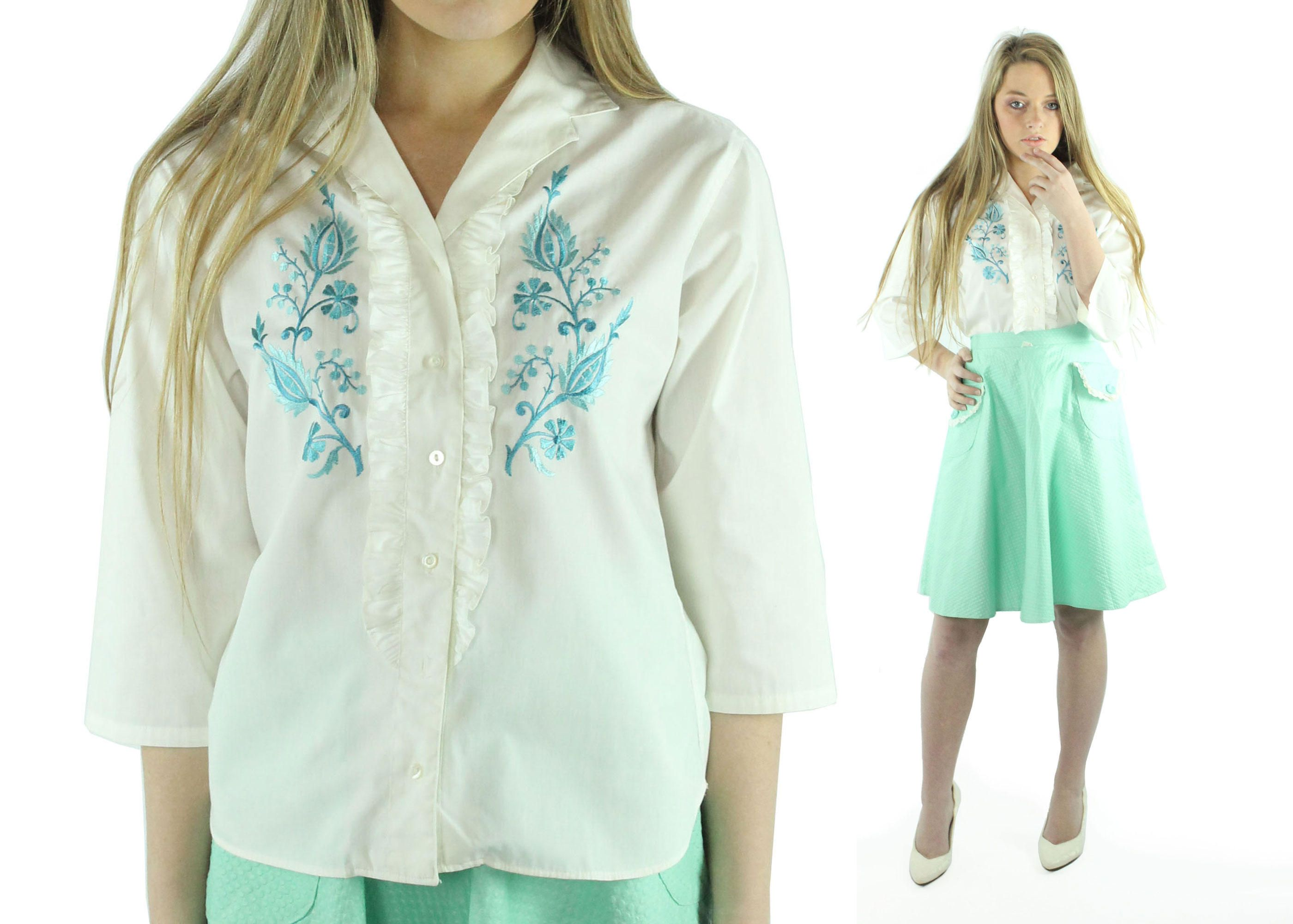3e04a95d $48, 70s White Embroidered Tuxedo Blouse Button Up Shirt Long Sleeve Top  Turquoise Blue Vintage 70s Large L Hippie Boho Pinup Rockabilly by  ScarletFury on ...